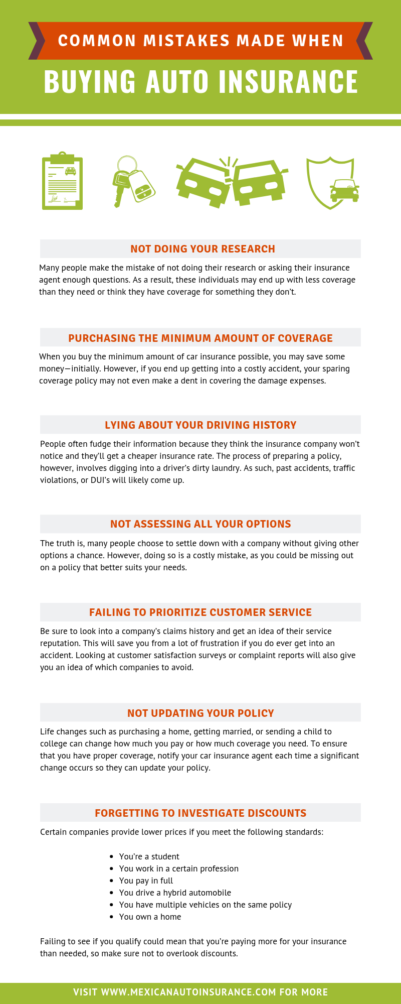 Common Mistakes Made When Buying Auto Insurance infographic